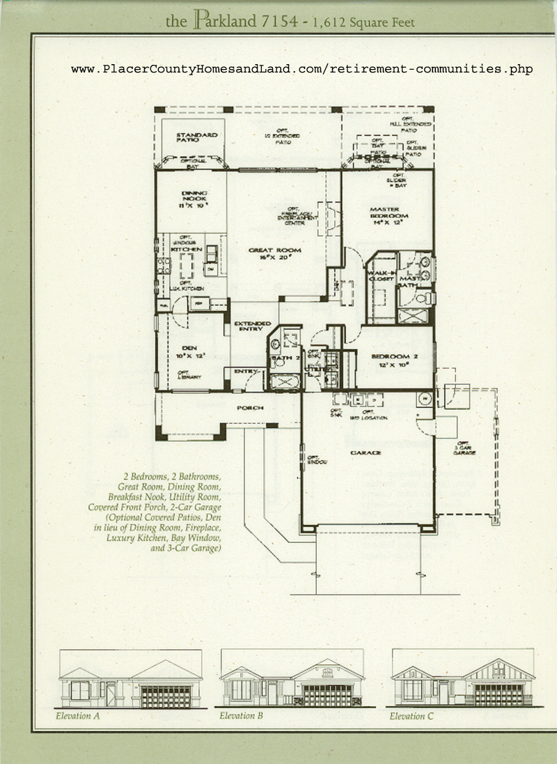 Sun city roseville floorplans for Parkland plan